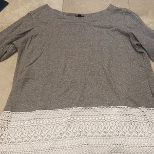 Long sleeve grey and white lace